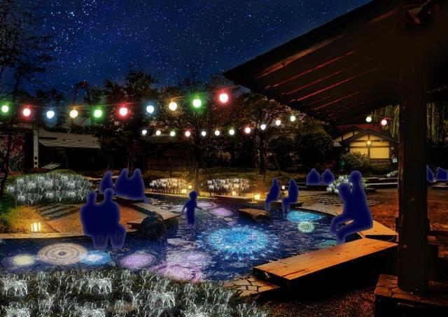 足もとに上がる冬花火! 大江戸温泉でロマンチック足湯いかが?
