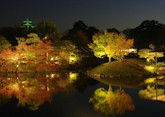 幻想的なライトアップが「岡山後楽園」秋の庭園を彩る