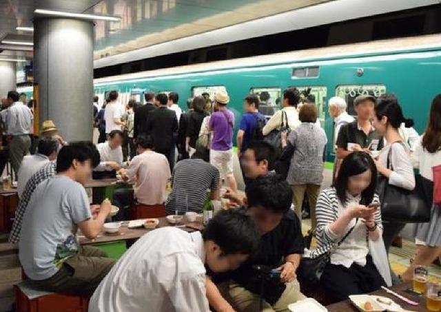 帰ってきました! 京阪電車「中之島駅」のホームが酒場に変身