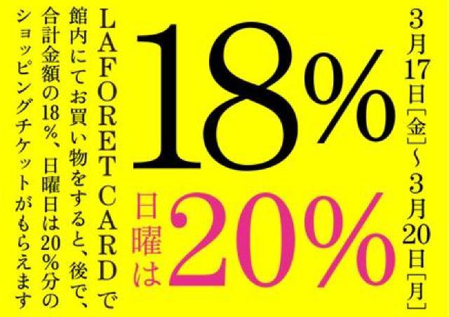【ラフォーレ原宿】ラフォーレカードで18%戻ってくる! 日曜なら20%