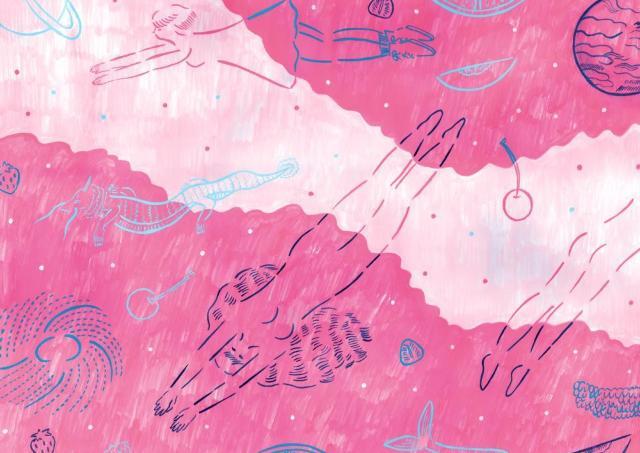 ピンク色の海、空に浮かぶ龍... 恵比寿で庄子佳那イラストレーション展