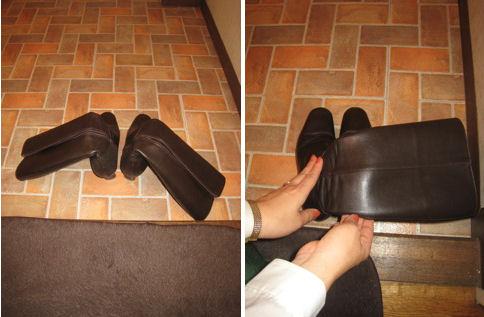 ブーツを寝かしたり、上部をバラバラに倒すのはNG。左右どちらか一方に折り曲げて