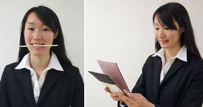 割り箸の上に口角がくるように。鏡で確認しながら