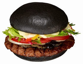 黒バーガー(Premium KURO Burger)(450円) Mセット:790 円(日本再上陸5 周年特別価格)