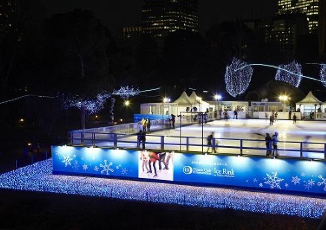 夜はイルミがライトアップ ミッドタウンに都内最大級の屋外型スケートリンク