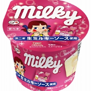 生ミルキーがアイスになった 柔らかソースが新食感「不二家ミルキーカップ」