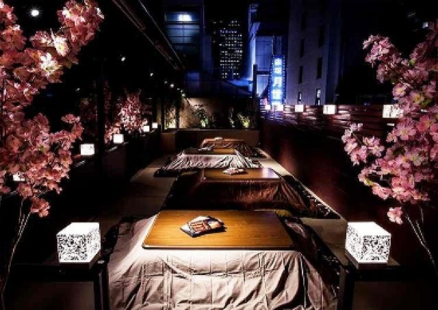 「こたつ+テラス」で寒さ気にせずお花見だ! バネバグース赤坂見附であったか宴会