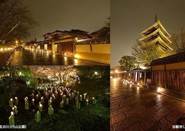 京都・東山で夜のお散歩 幻想的に路を彩る「花灯路」