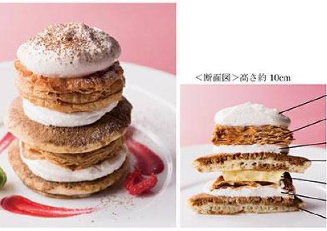 パンケーキ、パイ、ティラミス、カスタード 4層の食感楽しむミルフィーユパンケーキ