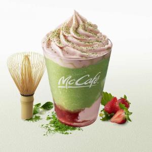 マックカフェの抹茶シリーズに、甘酸っぱい「いちご」が初登場!