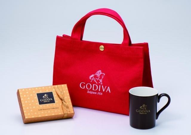 ゴディバのロゴが目立ち度大! チョコとマグ付きの「ハッピーバッグ」発売中