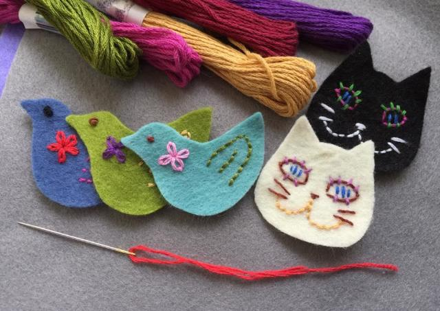 チクチク刺繍で可愛い動物ブローチをつくろう!