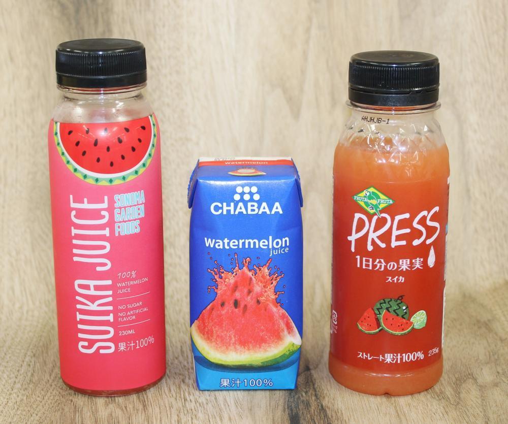 同じ「スイカジュース」でも個性はバラバラ。3商品飲み比べしたよ〜。