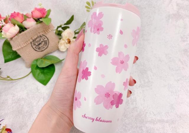 ダイソーで「スタバ風のタンブラー」発見! 桜デザインで激カワ。