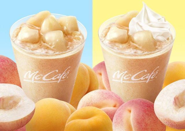 桃がゴロゴロ! マックカフェで人気スムージーがパワーアップしたよ。