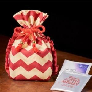 【スタバ】ティーセットの巾着バッグが可愛い~! レッドとアイボリーのシェブロン柄