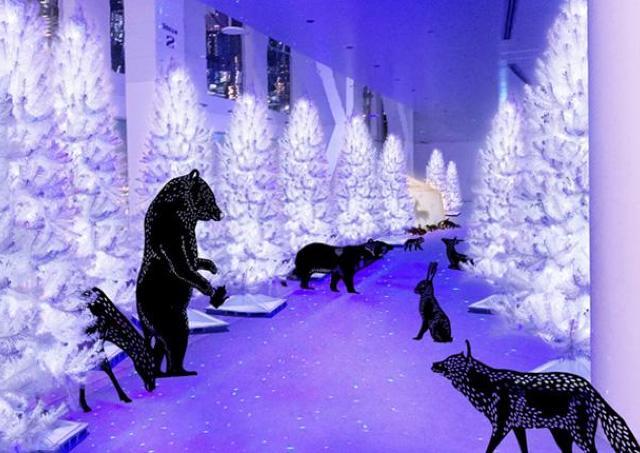 空中庭園展望台が幻想的なクリスマス空間に