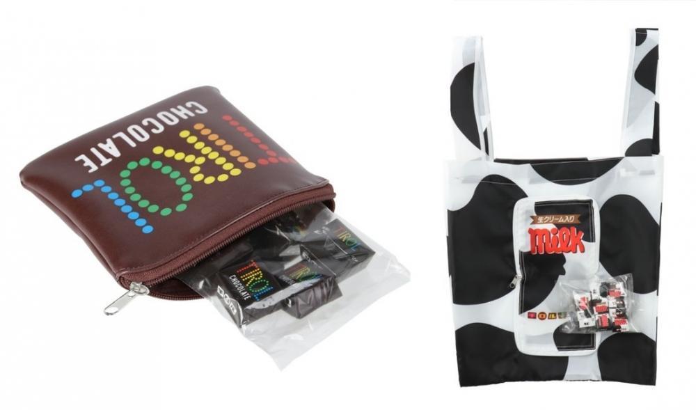 チロルチョコデザインのポーチとエコバッグが激カワ!ロフトで買えるよ~。