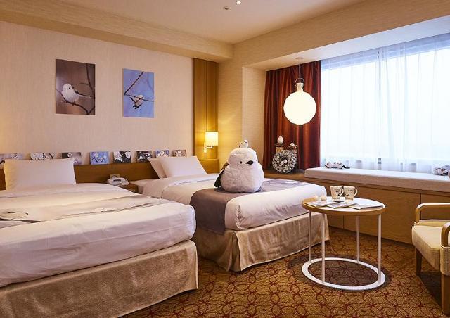 ホテル館内のあちこちで「雪の妖精」シマエナガがお出迎え