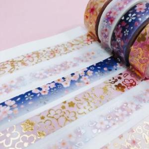 金の箔押しに桜は最高にかわいい。キャンドゥのマステは大人買い案件。