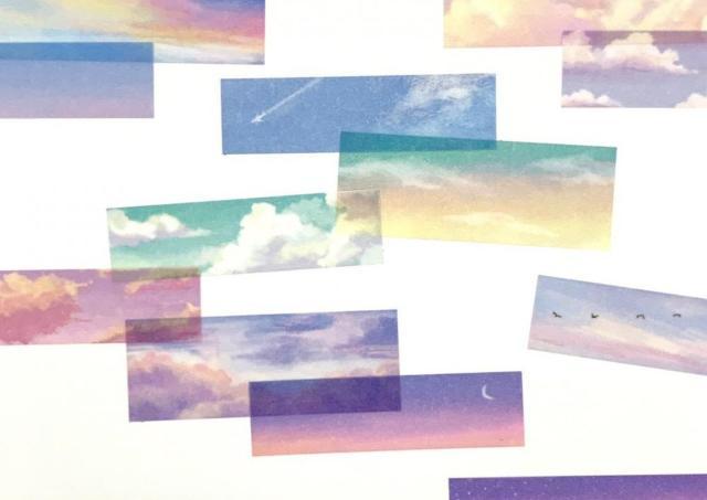 【セリア】「空」のマステシールが素敵すぎてため息...。透け感、よきです。