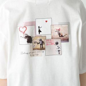 「バンクシー」のアートフォトTシャツがハニーズで買える!甘すぎないカラーで大人可愛い。
