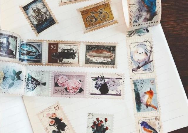 【100均】眺めてるだけで幸せ。アンティーク切手風のマステが最高に可愛い。