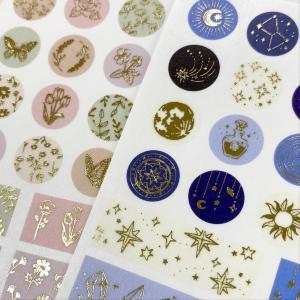 【一目惚れ】セリアの金箔シール、色もイラストも繊細可愛いよ~。