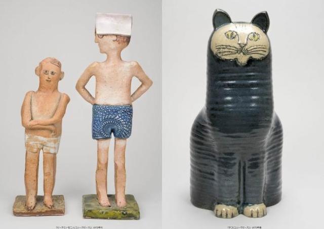 ライオン、猫、ブタ、素朴で可愛い陶芸いろいろ「リサ・ラーソン展」